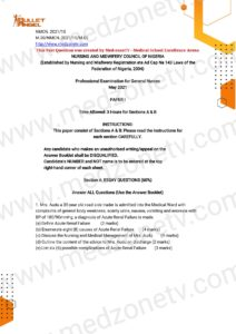 Nursing and Midwifery Examination Past Questions